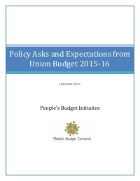 Policy Asks from Union Budget 2015-16